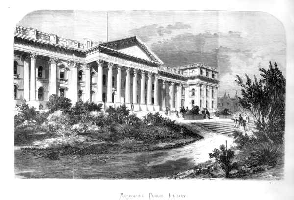 Engraving of proposed Melbourne Public Library, 1865