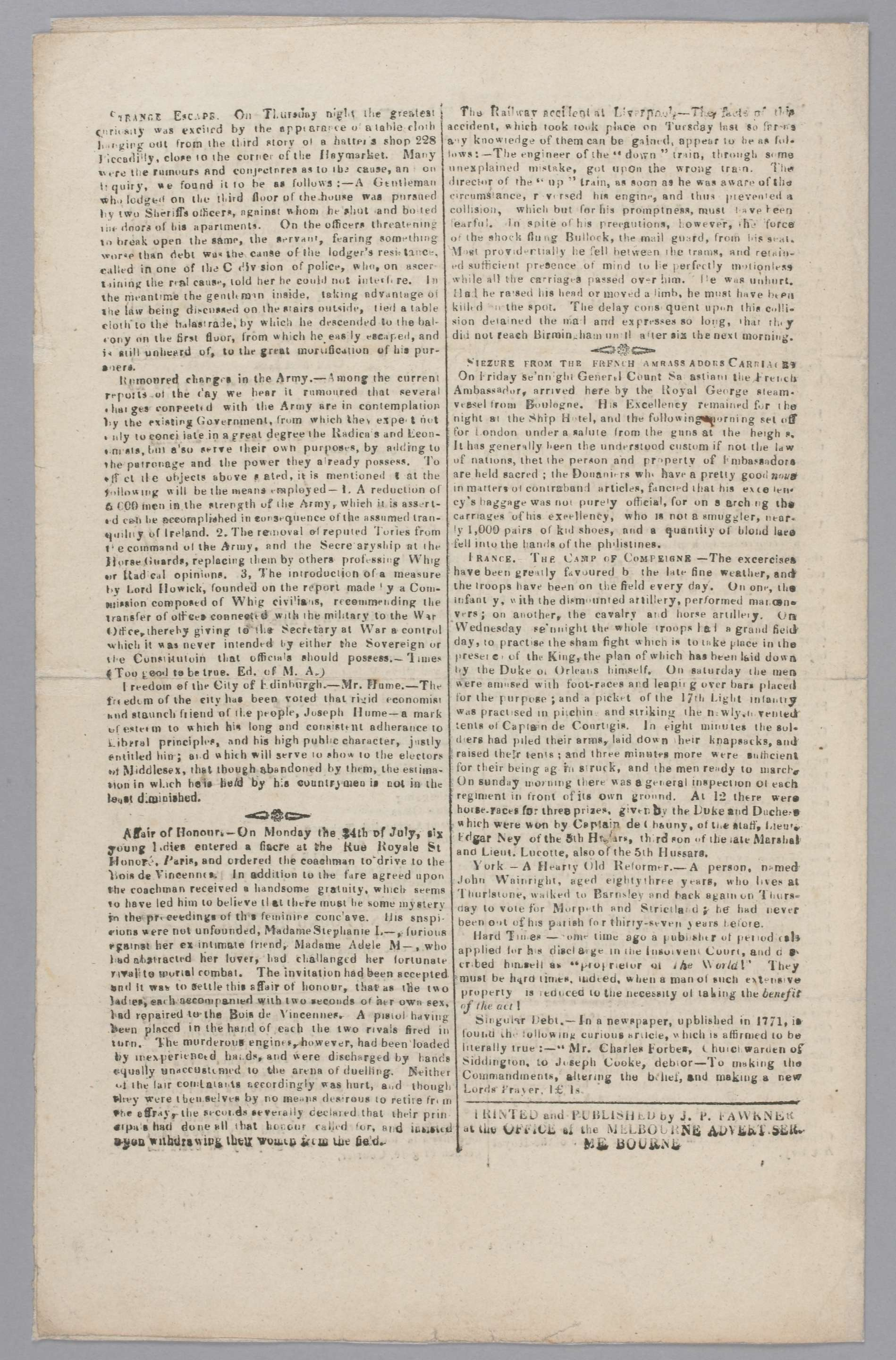 Melbourne Advertiser, manuscript