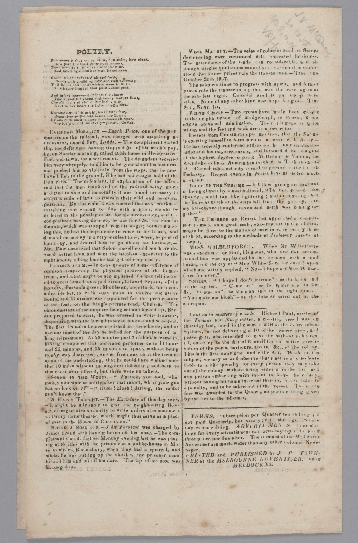 Melbourne Advertiser, manuscript