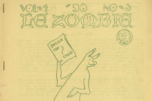 Detail of hand-stapled fanzine with green text, Le Zombie, and drawing of kangaroo holding a magazine, yellowed paper