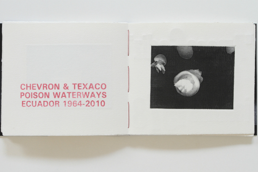 Open book with white pages with red text 'Chevron & Texaco poison waterways Ecuador 1964-2010' and photo of white jellyfish shapes on black background