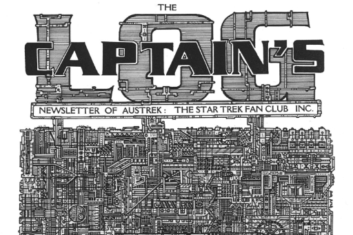 Detail of black and white fanzine with Captains Log in masthead and graphics