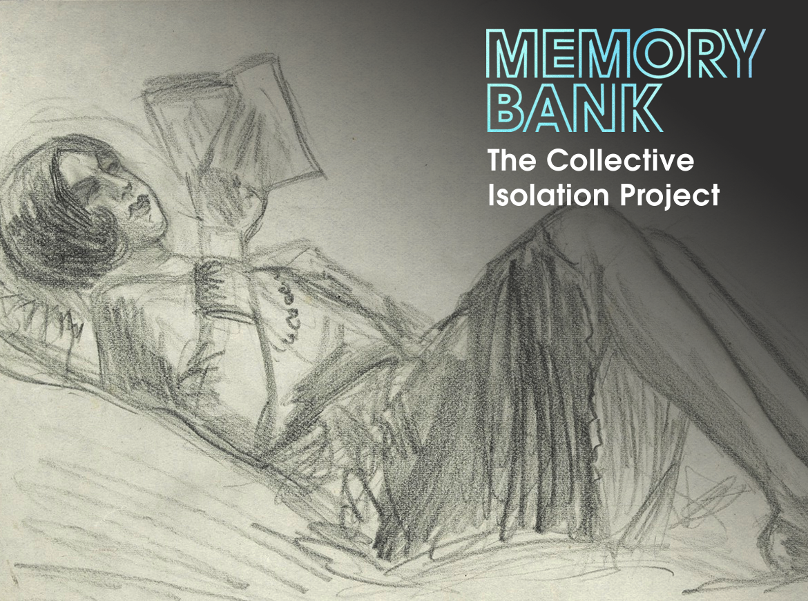 Pencil sketch of a woman laying down reading