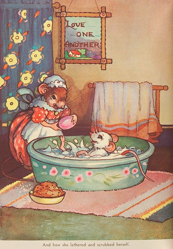 Mother mouse lovingly gives baby mouse a bath