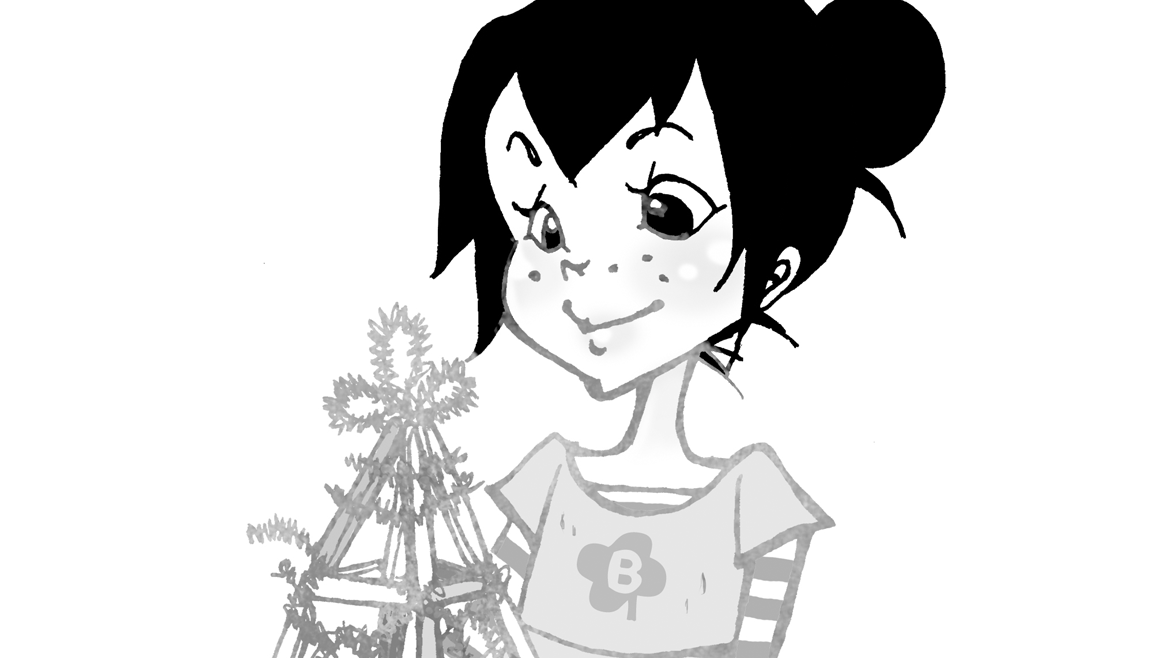 Cartoon drawing of an impish, dark-haired young girl