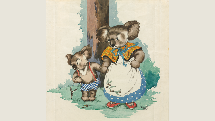 Blinky Bill the koala wearing checked pants with red suspenders and holding a slingshot, standing in front of a tree trunk, holding hands with his mother Mrs Koala, who is wearing a spotted frock, apron and checkered shawl.
