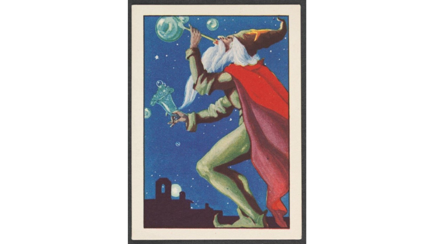 Poster of a man blowing bubbles