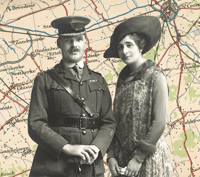 A soldier and a well-dressed woman against a backdrop of a map of Europe