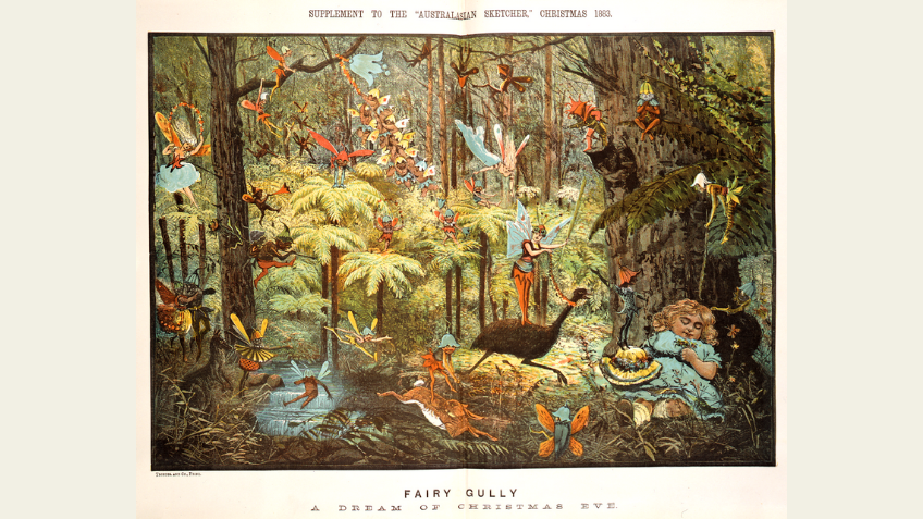 Shows small girl asleep beside tree, with fairies and elves flying around her.