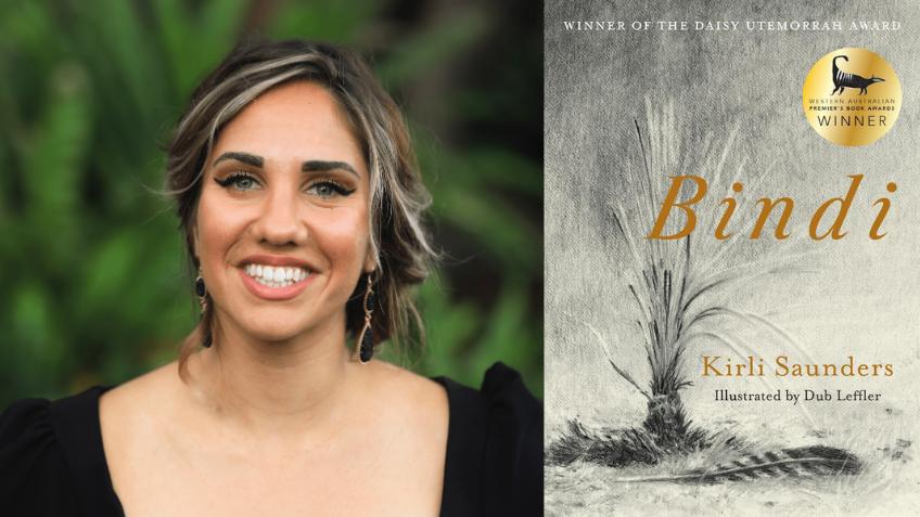 Headshot of a woman next to Bindi book cover