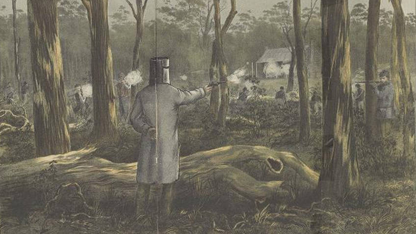 watercolour of armour-clad man with gun firing at police in a forest
