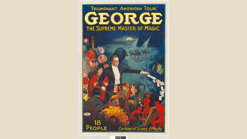 Poster shows image of magician dealing a pack of cards from his left hand, wand in right hand. He is surrounded by women in Eastern costume and an Asian magician stands behind him. Demons play with dice, a witch rides a broomstick and a camel train pass by pyramids on a moonlit night.
