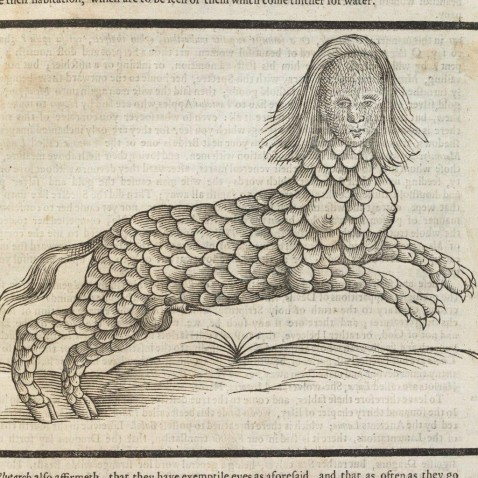 sepia print of an imaginary beast with a feline body and human head