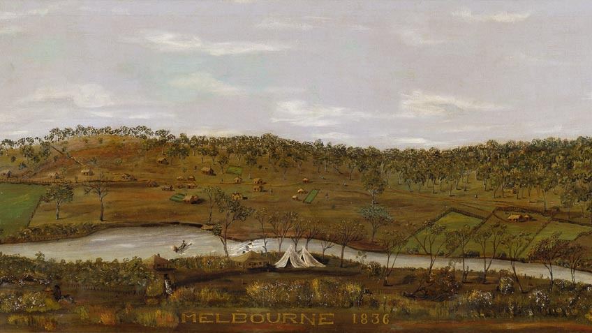 Colour painting of an early view of Melbourne, probably reconstructed after 1836, including buildings belonging to John Batman and John Fawkner