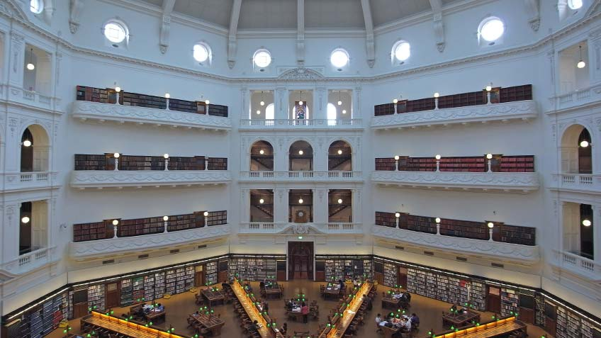 The spectacular domed ceiling, ornate balconies & floor of the La Trobe Reading Room