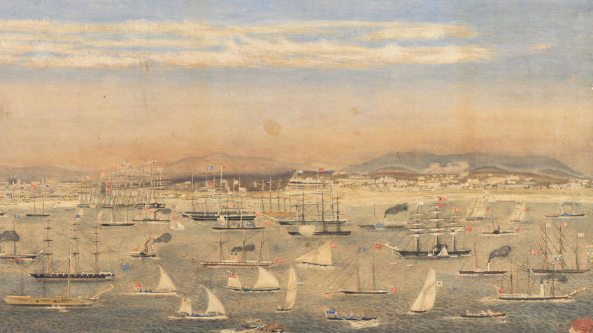 19th-century watercolour of boating regatta on Port Phillip Bay