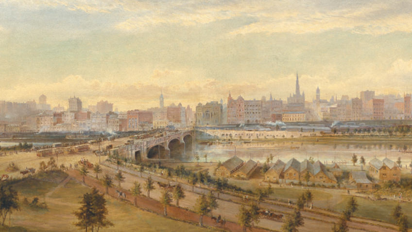 painting of Melbourne's river and skyline 100 years ago