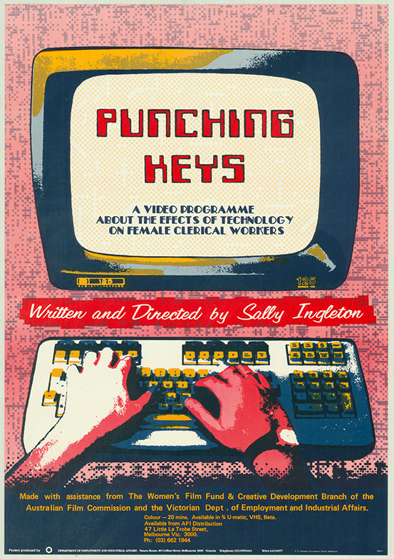 Poster of a pair of hands typing on a computer with a title in capital letters saying 'Punching keys'