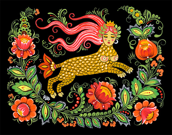 A hybrid woman-creature is surrounded by colourful fruit and plants