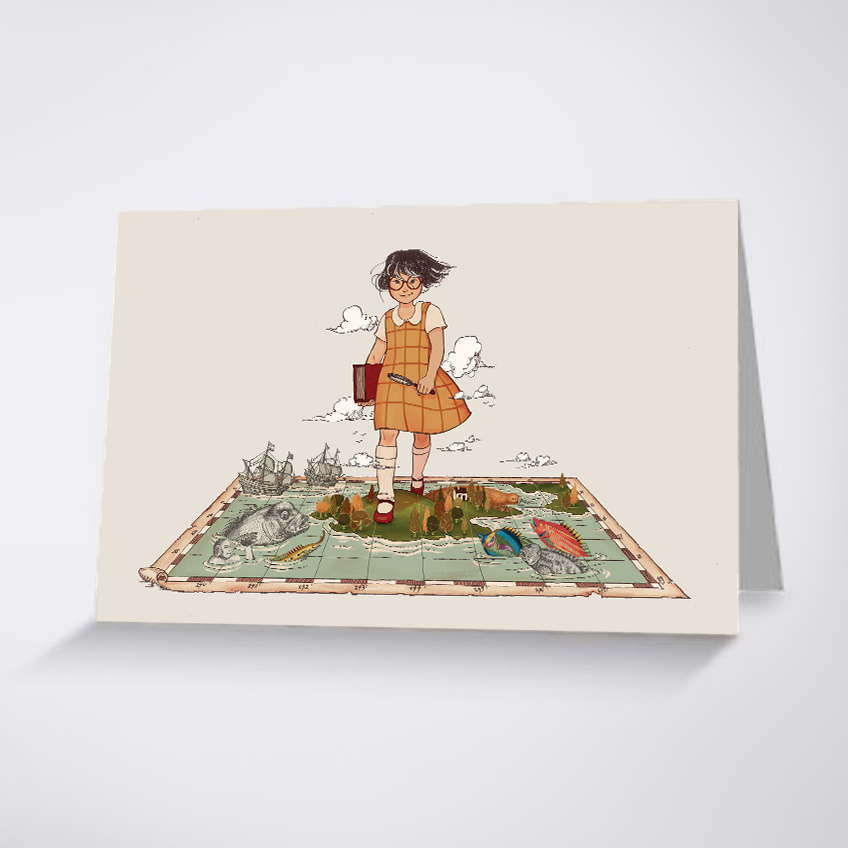 A greeting card with a cartoon of a girl walking over a map