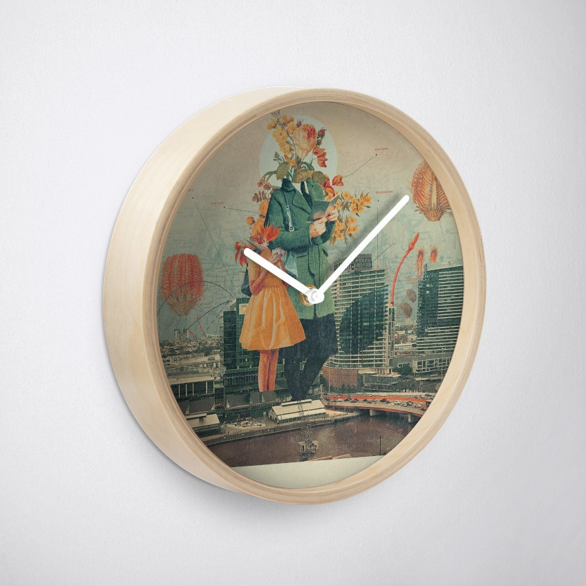 Wall clock with surrealist background image