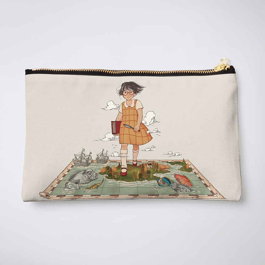 Small fabric pouch with zipper and featuring a cartoon of a girl walking over a map