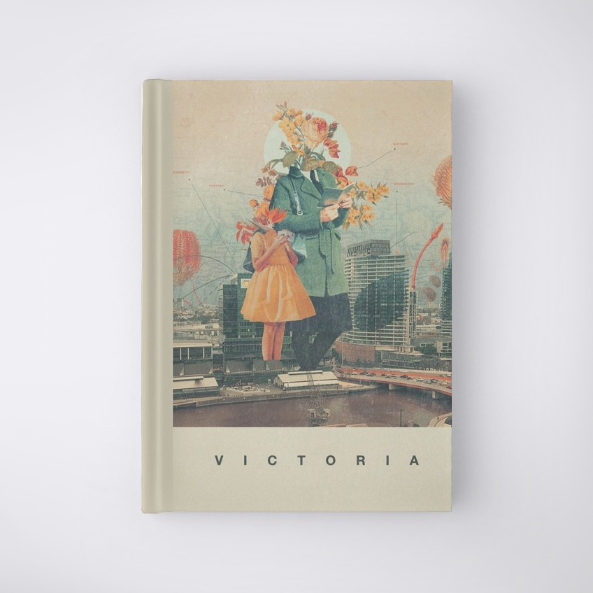 hardcover book with a surrealist collage on front cover