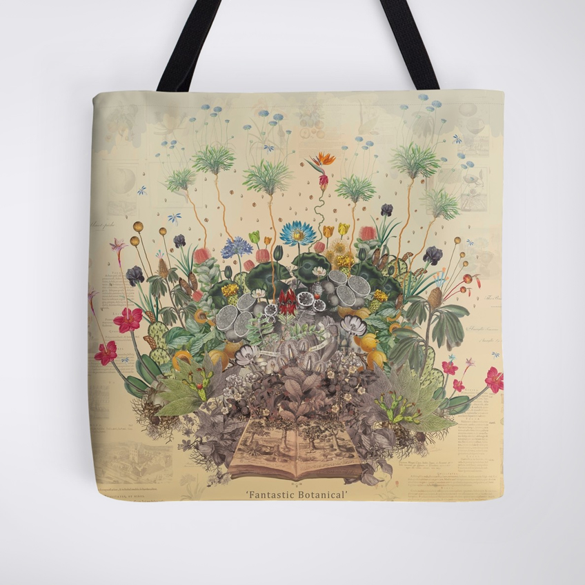 Tote bag with colourful floral bouquet