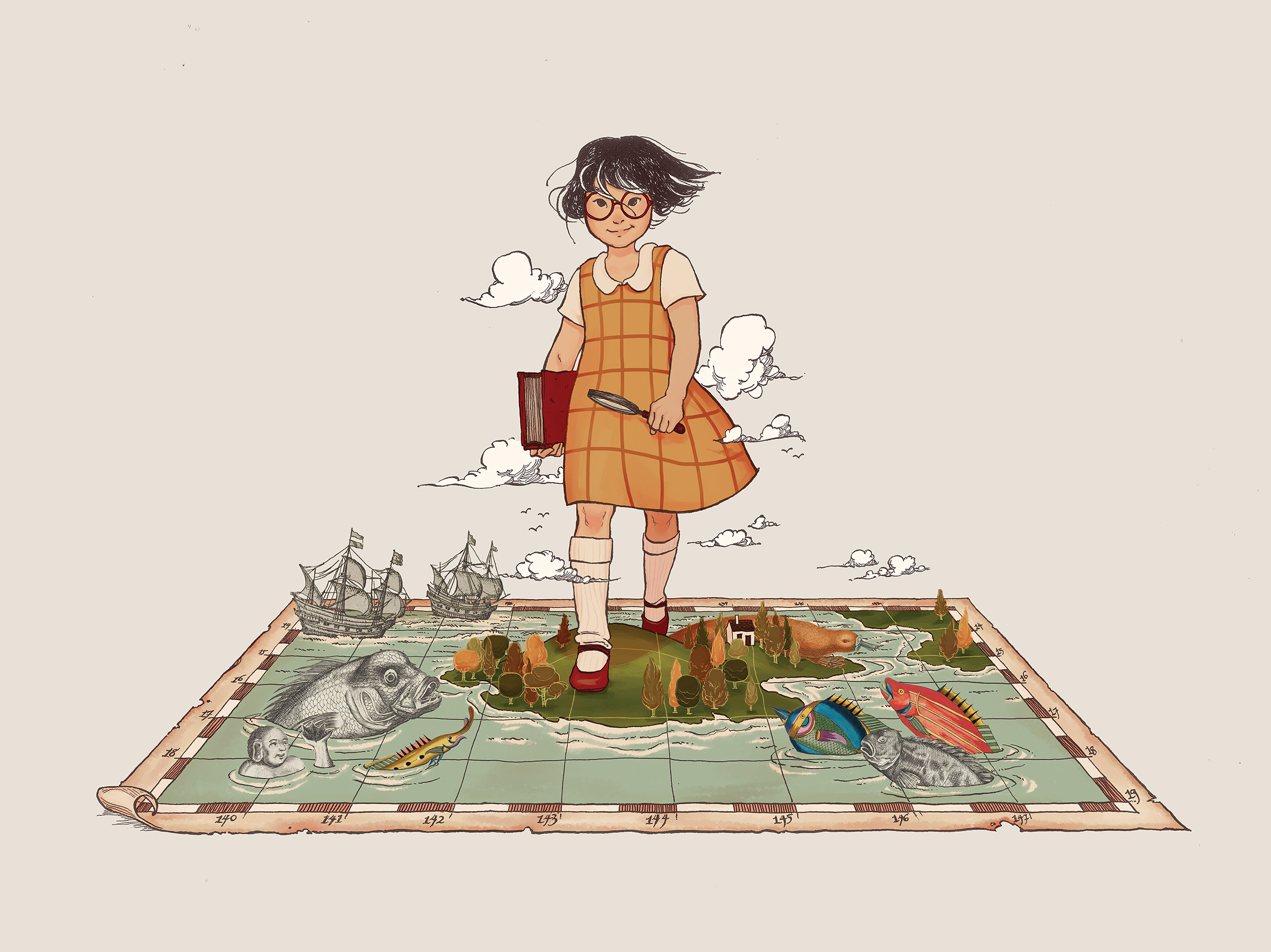 Collage of a cartoon girl walking on a map