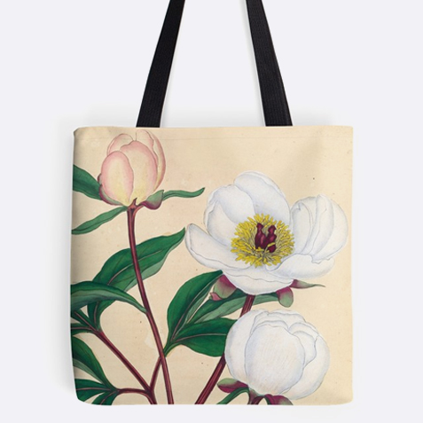 A tote bag with an illustration of peonies