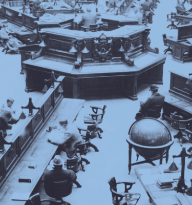 A black and white image with a blue gradient over the top depicting a group of people reading inside the State Library Victoria