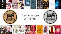 Inky Awards Longlist 2019 book covers with gold and silver award badge