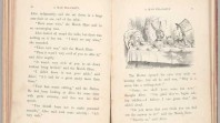 black and white photo of double-page spread from rare first edition copy of Lewis Carroll's Alice's Adventures in Wonderland featuring Tenniel's illustration of the Mad Hatter's Tea Party