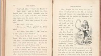 black and white photo of double-page spread from rare first edition copy of Lewis Carroll's Alice's Adventures in Wonderland featuring Tenniel's illustration of Alice with a flamingo
