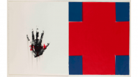 A handprint on a white background, and a red and blue cross