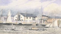 Watercolour of sailing ships, steamship, boats at dock and horse drawn vehicles on wharf