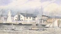 Watercolour of sailing ships, steamship, boats at dock and horse drawn vehicles on wharf