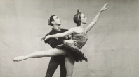 Black and white photo of two ballet dancers
