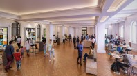 architects' mock-up of library foyer space with people browsing and relaxing at shared tables