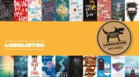 multibook panel with brightly coloured covers against orange panel with Longlist and gold medallion with black dog