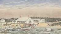 Colonial-era watercolour of busy beach scene with buildings, people, animals and boats