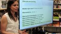 Photo of Mandy Nicholson teaching an Aboriginal language