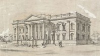 Sepia etching of classically fronted building with portico and columns