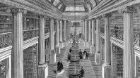 1866 engraving of Queen's Hall reading room