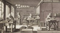 Engraving of printers operating a medieval printing press