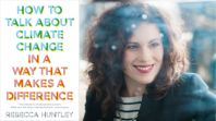 Headshot of Rebecca Huntley next to the cover of her book
