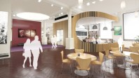 Colour photo of artists impression of redeveloped rooftop cafe in Bride Gallery at State Library Victoria
