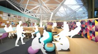 Colour photo of artists impression of redeveloped young learner space at State Library Victoria