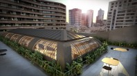 Colour photo of artists impression of redeveloped rooftop cafe on Queen's Hall Gallery roof at State Library Victoria