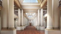 Colour photo of artists impression of redeveloped Queen's Hall Gallery at State Library Victoria